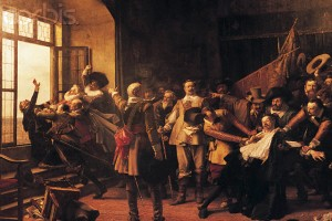 Painting of The Defenestration of Prague